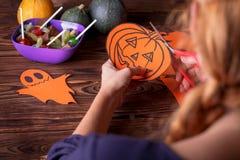 Concept heureux de carte de Halloween Coupé du papier pour une partie Photos stock