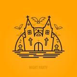 Concept heureux de Halloween avec les battes, la lune, l'église de château et les tombes Images libres de droits