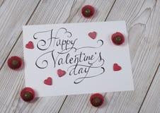 Concept heureux de jour du ` s de Valentine avec la praline Images stock