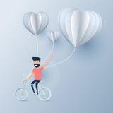 Concept heureux de jour du ` s de valentine de l'amour Équipez la bicyclette d'équitation avec les ballons à air chauds de forme  illustration de vecteur