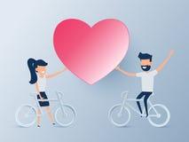 Concept heureux de jour du ` s de valentine de l'amour Beaux jeunes couples montant une bicyclette avec le coeur Être amoureux Co illustration de vecteur