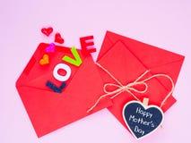 Concept heureux de lettre d'amour de jour du ` s de mère Image libre de droits