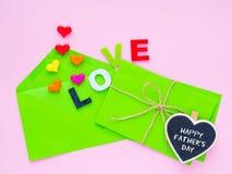 Concept heureux de lettre d'amour de jour du ` s de père Image stock