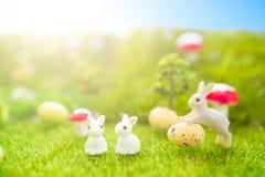 Concept heureux de Pâques Jouet de lapins de Pâques sur l'herbe verte de ressort Coucher du soleil de conte de fées sur le champ  Image stock