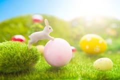 Concept heureux de Pâques Jouet de lapins de Pâques sur l'herbe verte de ressort Coucher du soleil de conte de fées sur le champ  Photos stock