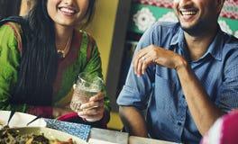 Concept heureux de restaurant de repaire d'amis image libre de droits