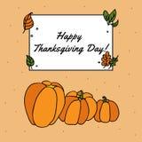 Concept heureux de thanksgiving avec des potirons pour des insectes et des cartes postales Image stock