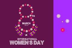 Concept heureux international de célébration de jour du ` s de femmes avec texte le 8 mars décoré floral élégant sur le fond brun Photos libres de droits