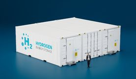 Concept of hi tech mobile hydrogen energy storage facility made Royalty Free Stock Photos