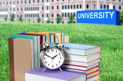 Concept of higher education. Book, campus, university royalty free stock photography