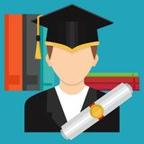 A graduate of a college or school in a graduate`s hat with a cer. The Concept of Higher Education. A graduate of a college or school in a graduate`s hat with a Royalty Free Stock Photo