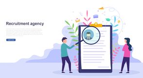 Concept of hiring, recruitment agency, interview and job vacancy. Design for web pages, resume resources. Concept of hiring, recruitment agency, interview and vector illustration
