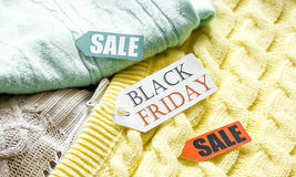 Concept holiday sales of clothes and textiles Stock Photos