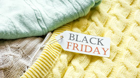 Concept holiday sales of clothes and textiles Stock Images