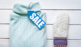 Concept holiday sales of clothes and textiles top view Royalty Free Stock Images