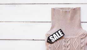 Concept holiday sales of clothes and textiles top view Royalty Free Stock Photo