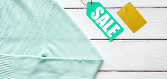 Concept holiday sales of clothes and textiles top view Stock Image