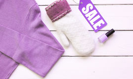 Concept holiday sales of clothes and textiles top view Royalty Free Stock Photography