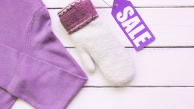 Concept holiday sales of clothes and textiles top view Stock Photography