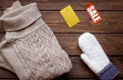 Concept holiday sales of clothes and textiles top view Royalty Free Stock Image