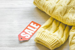 Concept holiday sales of clothes and textiles Royalty Free Stock Photo