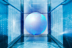Concept of Holographic 3d planet earth against blue abstract background with circles, triangles and binary code. Promising endless frame of metal and glass with Royalty Free Stock Images