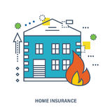 Concept of home insurance. Fire protection. Flat Vector illustration. Royalty Free Stock Photography