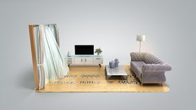 Concept of a home loan or repair room on credit card 3d render on grey gradient