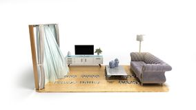 Concept of a home loan or repair room on credit card 3d render on white