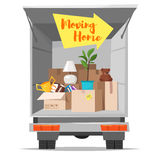 Concept for home moving. Isolated on white background. Vector cartoon style illustration of truck with open bodywork and home stuff inside. Cardboard boxes in Stock Image