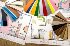 Home plan and color palette. Concept, home plan and color palette stock photography