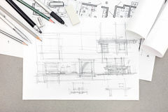 Concept of home renovation architectural sketch with drawing too Royalty Free Stock Photography