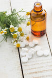 Concept homeopathy. Bottle with medicines, pills, herb. Stock Photography