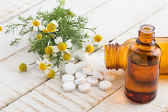 Concept homeopathy. Bottles with medicines and natural herbs. Royalty Free Stock Photos
