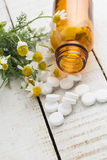 Concept homeopathy. Bottles with medicines and natural herbs. Royalty Free Stock Images