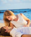 Concept, homme et femme de lune de miel dans l'amour Images stock