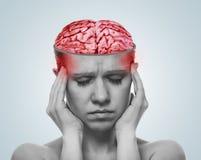 Concept hoofdpijn. open schedel, ontstoken hersenen stock foto's