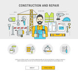 Concept horizontal banner flat building and repair. Conceptual horizontal banner flat design and icons building and repair. Man builder and set of tools and Royalty Free Stock Images