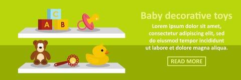 Concept horizontal de bannière décorative de jouets de bébé Photo stock