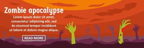 Concept horizontal de bannière d'apocalypse de zombi illustration stock