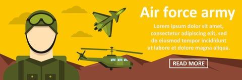 Concept horizontal de bannière d'armée de l'Armée de l'Air Photo stock