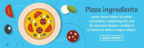 Concept horizontal de bannière d'ingrédients de pizza Photographie stock