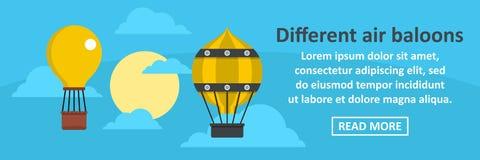 Concept horizontal de bannière différente de ballons à air Images stock