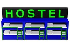 Concept: Hostel. 3D rendering. Stock Photo