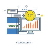 Concept of 24 hour access and office work. Color Line icons. Flat Vector illustration Royalty Free Stock Photography