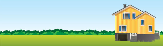 Concept house banner. A banner with a two-story house on the background of the summer landscape Royalty Free Stock Images