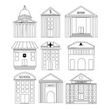 Concept of house and building icons. Royalty Free Stock Photo