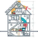 Concept  of house remodeling infographic.Vector Royalty Free Stock Images
