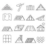 Concept House Roof Construction Thin Line Icon Set. Vector. Concept House Roof Construction and Element Thin Line Icon Set for Web and App. Vector illustration Stock Image