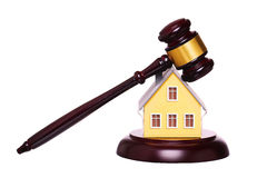 Concept of house sale with gavel isolated. Foreclosure Royalty Free Stock Images